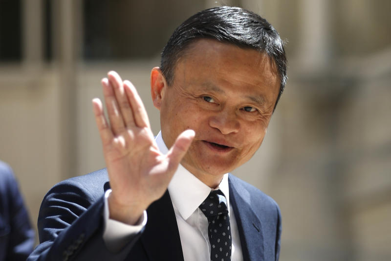 FILE - In this May 15, 2019, file photo, founder of Alibaba group Jack Ma arrives for the Tech for Good summit in Paris. As the coronavirus spread, the world's richest communist dug into his deep pockets. Jack Ma, founder of e-commerce giant Alibaba Group and a member of the ruling Communist Party, helped to pay for 1,000 ventilators delivered to New York in April. Ma's foundation also is giving ventilators, masks and other supplies in Africa, Latin America and Asia. (AP Photo/Thibault Camus, File)