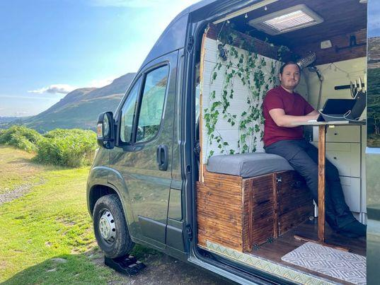 Liam sets to work in his pimped-up roaming office (Image: Liam Chester)