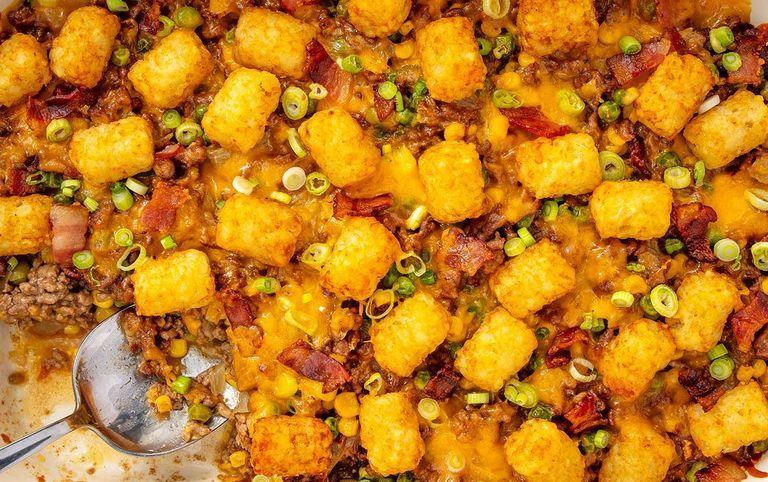 "<p>You've seen potato-topped pies, but tater tots? That's next-level delicious.</p><p><em><a href=""https://www.delish.com/cooking/recipes/a51160/tater-tot-casserole-recipe/"" rel=""nofollow noopener"" target=""_blank"" data-ylk=""slk:Get the recipe from Delish »"" class=""link rapid-noclick-resp"">Get the recipe from Delish »</a></em></p>"