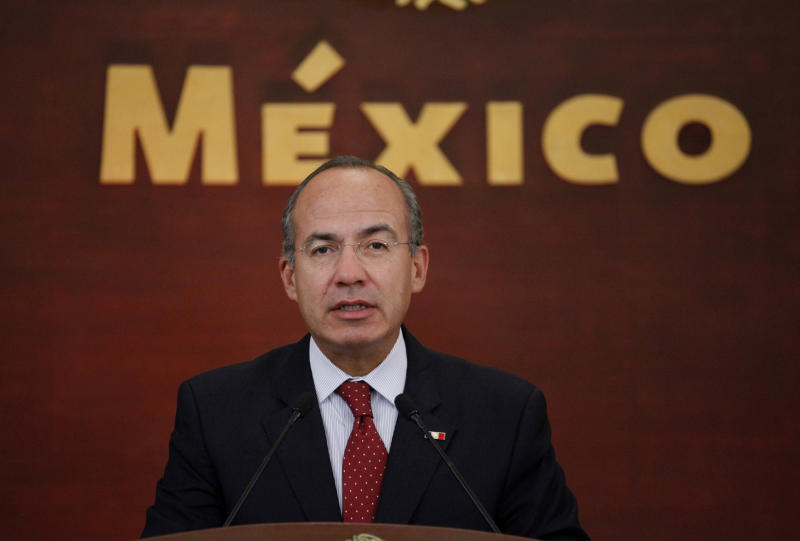 FILE - In this Feb. 21, 2011 file photo, Mexico's President Felipe Calderon holds a news conference at Los Pinos presidential residence in Mexico City. When Calderon came to power six years ago, he set goals to alleviate poverty, create jobs and increase public safety. As he winds up his term on Saturday, Dec. 1, 2102, Calderon leaves Mexico with fiscal stability that saved the country from collapse during the world's economic crisis, but with far greater violence, very little change in poverty levels and anemic job growth. (AP Photo/Eduardo Verdugo, File)