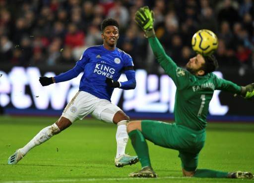 Hammer blow: Demarai Gray (left) scored Leicester's winner at West Ham