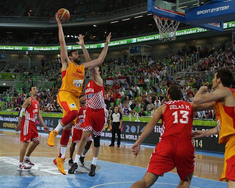 Spain's Marc Gasol goes to score against Croatia during their EuroBasket European Basketball Championship bronze medal match at the Stozice Arena, in Ljubljana, Slovenia, Sunday, Sept. 22, 2013. (AP Photo/Thanassis Stavrakis)