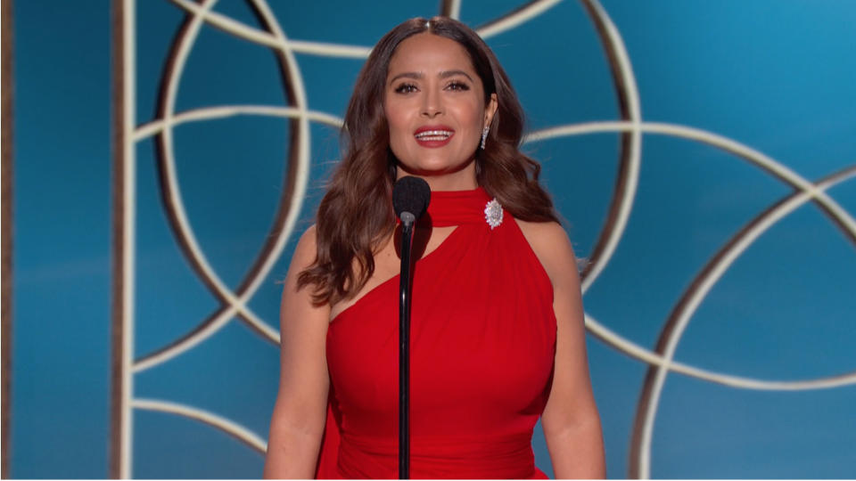UNSPECIFIED: 78th Annual GOLDEN GLOBE AWARDS -- Pictured in this screengrab released on February 28, (l-r) Salma Hayek speaks onstage at the 78th Annual Golden Globe Awards broadcast on February 28, 2021. --  (Photo by NBC/NBCU Photo Bank via Getty Images)