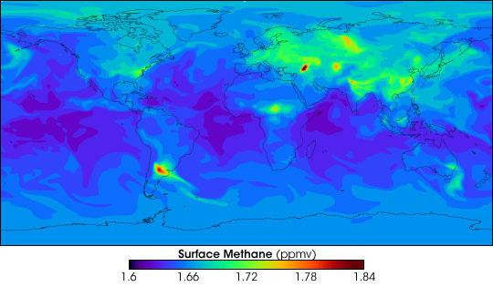 Surface levels of methane gas in 2009.