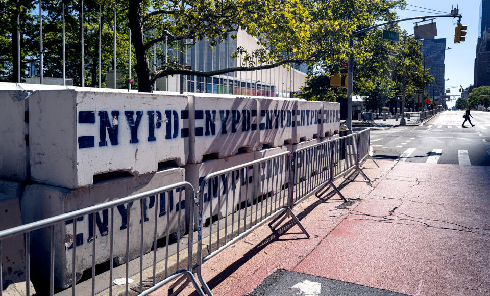 Security blocks are stacked near the United Nations headquarters Sunday, Sept. 19, 2021, in New York. The 76th Session of the UN General Assembly begins this week. (AP Photo/Craig Ruttle)