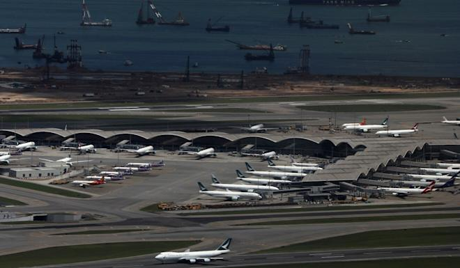 Planes parked at Hong Kong's airport as the aviation industry grinds to a halt. Photo: May Tse