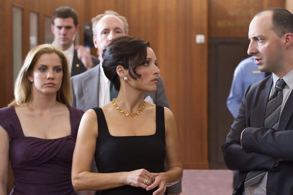 "Anna Chlumsky as Amy Brookheimer, Matt Walsh as Mike Mclintock, Julia Louis-Dreyfus as Vice President Selina Meyer, and Tony Hale as Gary Walsh in ""Veep."""