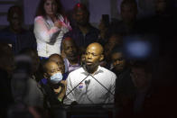 Democratic mayoral candidate Eric Adams speaks at his primary election night party Tuesday, June 22, 2021, in New York. (AP Photo/Kevin Hagen).