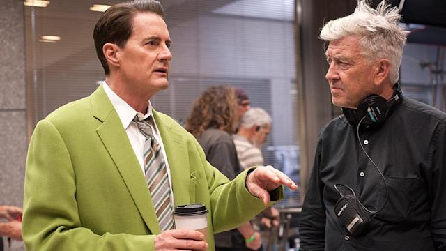 <p>MacLachlin (in Dougie's green suit) with Lynch.<br>(Photo: Showtime/Paramount/CBS Home Entertainment) </p>