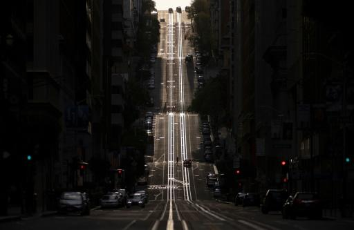 California Street, usually filled with cable cars, is seen empty in San Francisco