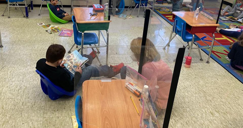 Students take part in socially distanced learning at Memorial Elementary School in Paramus.