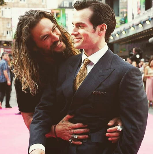 """<p>Henry Cavill (aka Superman) knows the power of Momoa's smile — and he's hard to impress, as he hasKryptonian powers. (Photo: <a rel=""""nofollow"""" href=""""https://www.instagram.com/p/BIqZByaBdxE/?taken-by=prideofgypsies"""">Instagram</a>) </p>"""