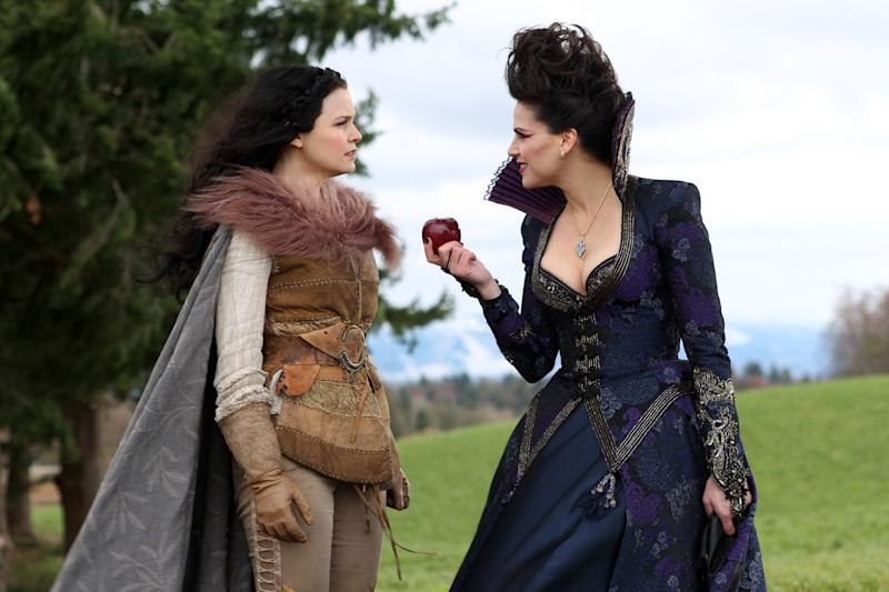 """In this publicity photo provided by ABC, actresses, Ginnifer Goodwin, left, and Lana Parrilla, are shown in a scene from ABC's """"Once Upon a Time,"""" Sunday, May 6, on the ABC Television Network. (AP Photo/ABC, Jack Rowand)"""