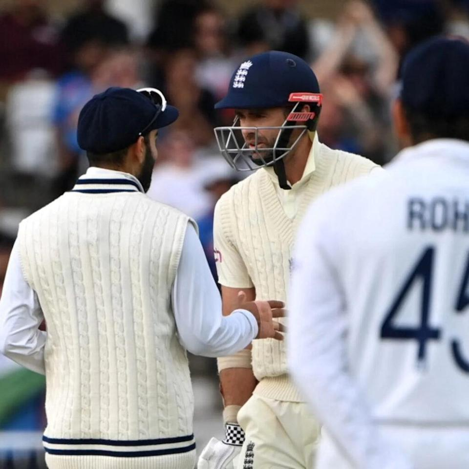 James Anderson and Virat Kohli of India converse at Lord's. Photo- Getty