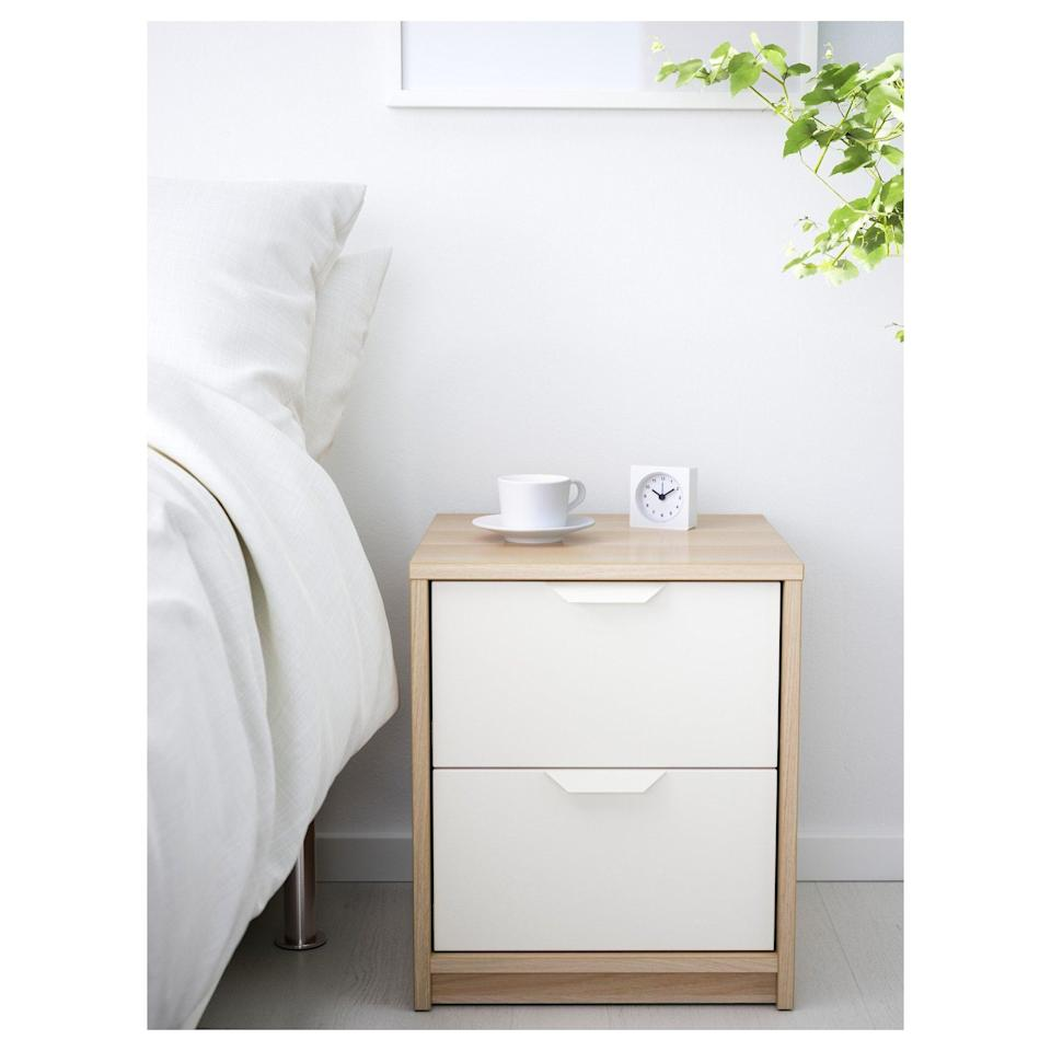 <p>Store your bedside items in the <span>Aaskvoll Two Drawer Chest </span> ($50) for easy reach. </p>