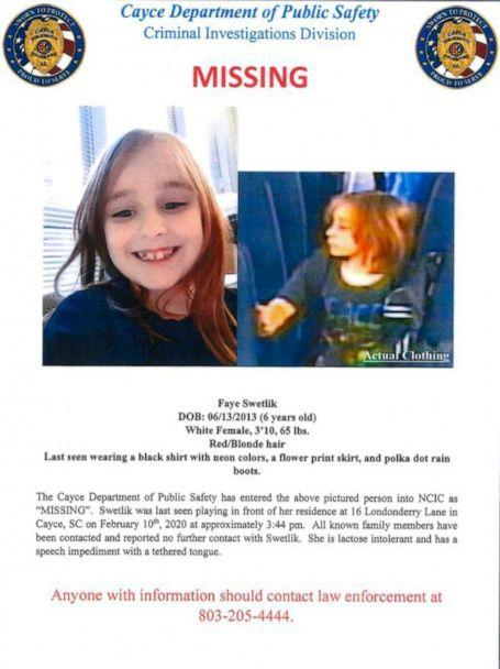 PHOTO: Poster for missing 6-yr-old, Faye Swetlik. (Cayce Department of Public Safety via Twitter)