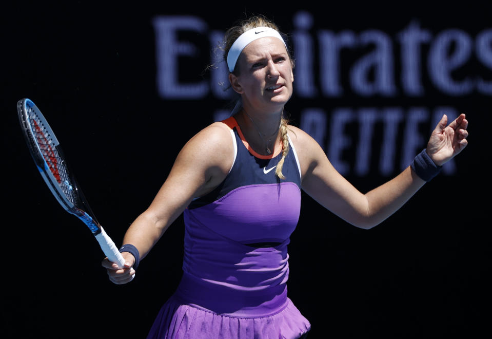 Victoria Azarenka of Belarus reacts during her match against United States' Jessica Pegula in their first round match at the Australian Open tennis championship in Melbourne, Australia, Tuesday, Feb. 9, 2021.(AP Photo/Rick Rycroft)