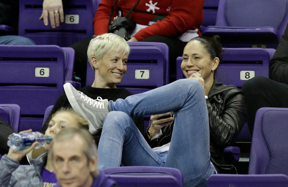 Megan Rapinoe, left, and Sue Bird, who plays for the WNBA's Seattle Storm, have been partners since 2016. (AP)