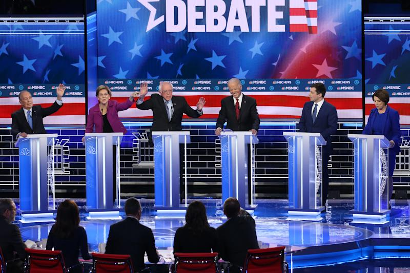 Six Democratic presidential candidates debate in Las Vegas on Feb. 19.