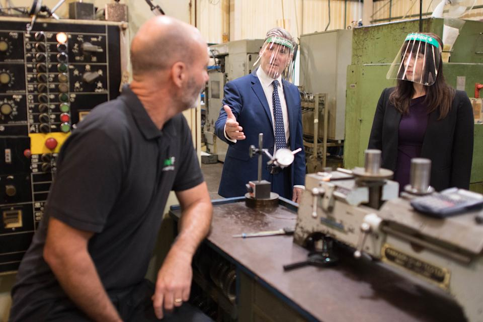 Labour leader Sir Keir Starmer discusses employment and post Covid-19 support for businesses with staff at engineering components manufacturer, Beard and Fitch in Harlow today where he was joined by shadow Chief Secretary to the Treasury, Bridget Phillipson MP. PA Photo. Picture date: Thursday July 9, 2020. Photo credit should read: Stefan Rousseau/PA Wire