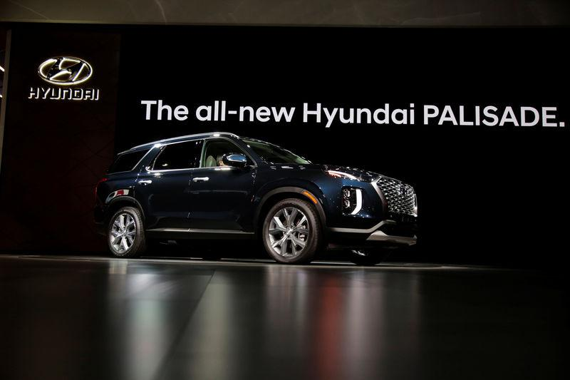 The 2020 Hyundai Palisade during the Hyundai press conference at the Los Angeles Auto Show in Los Angeles, California