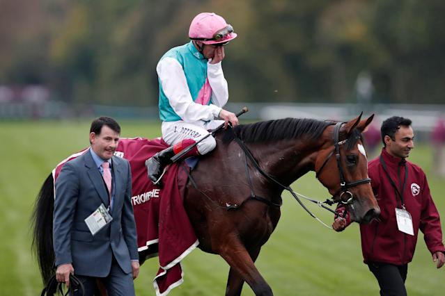 Horse Racing - Qatar Prix de l'Arc de Triomphe - Chantilly Racecourse, France - October 1, 2017 Frankie Dettori on Enable celebrates in the parade ring after winning the Qatar Prix de l'Arc de Triomphe (Group 1) REUTERS/Benoit Tessier