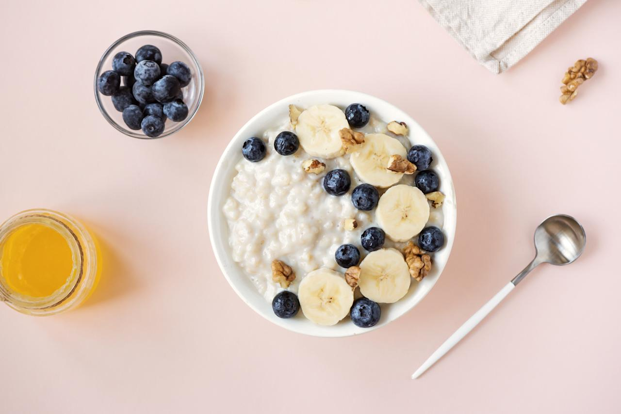 """<p>Yeah, oatmeal is kind of boring, but that's also what makes it a good choice for heartburn. Dr. Bedford recommends waking up to a bowl of easily-digested oats for a reflux-free day.</p> <p><strong>RELATED: <a href=""""https://www.health.com/health/gallery/0,,20834382,00.html"""">16 Oatmeal Dessert Recipes That Satisfy</a></strong></p>"""