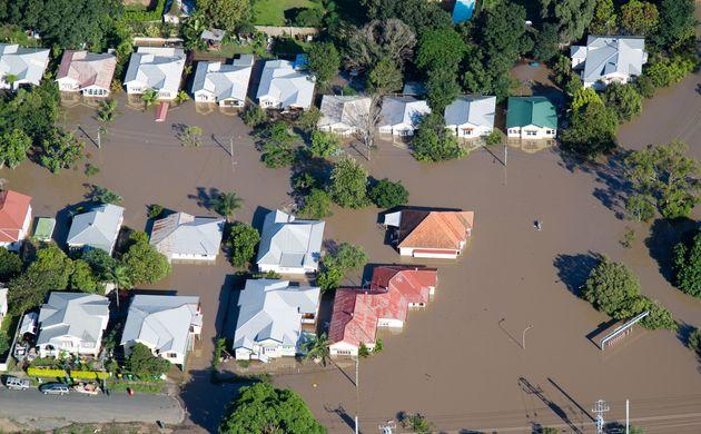 A photo of a flooded neighbourhood in Brisbane, Australia, from 2011.