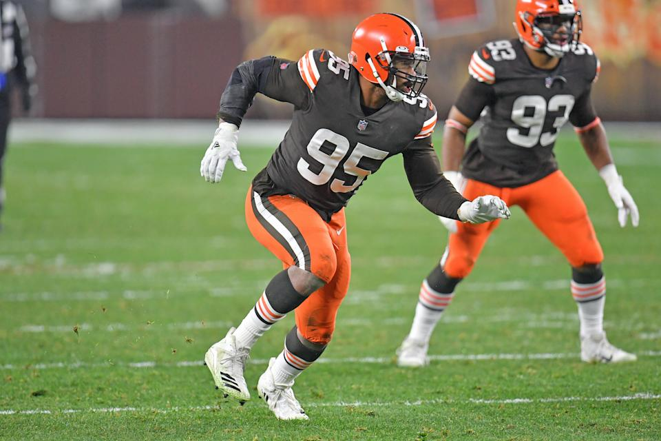 Browns DE Myles Garrett is dealing with the long-term effects of COVID-19. (Photo by Jason Miller/Getty Images)