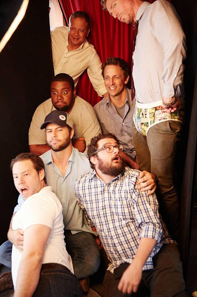 "Michael Shoemaker, Seth Meyers, Josh Meyers, Kenan Thompson, Taran Killam, Bobby Moynihan, and Ike Barinholtz of ""The Awesomes"" posing for TV Guide at the 2013 Comic-Con International Convention."