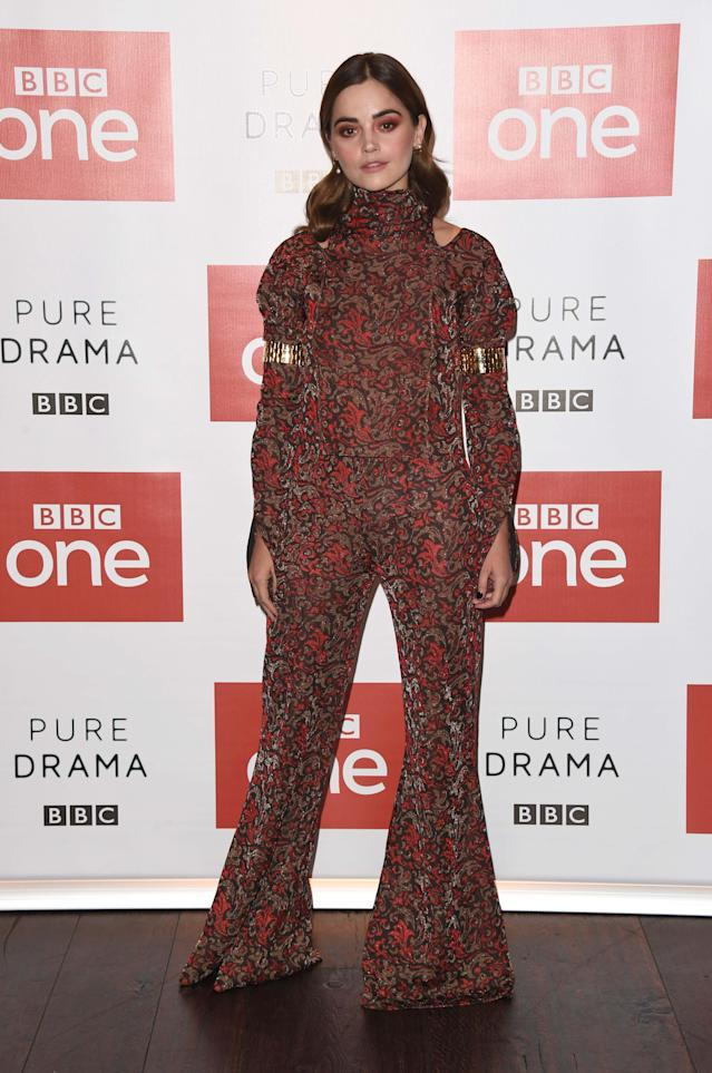<p>On September 3, actress Jenna Coleman proved the seventies are well and truly back this season in a flared jumpsuit (which we kinda need, asap) at a BBC photocall. She finished the look with autumnal eyes and soft waves. <em>[Photo: Getty]</em> </p>