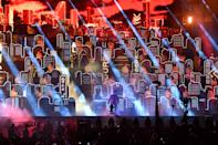 <p>TAMPA, FLORIDA - FEBRUARY 07: The Weeknd performs onstage during the Pepsi Super Bowl LV Halftime Show at Raymond James Stadium on February 07, 2021 in Tampa, Florida. (Photo by Kevin Mazur/Getty Images for TW)</p>