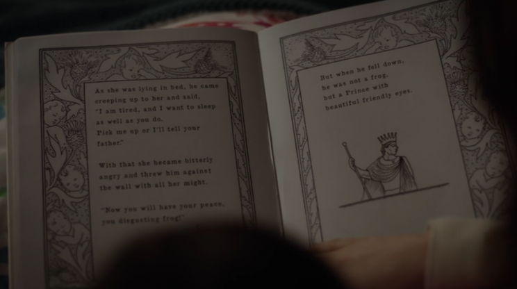 Rose reads the Grimm Brothers' 'The Frog King' to her daughter