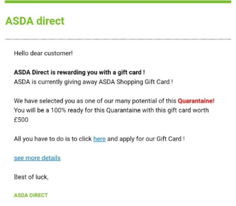 An example of a fake supermarket voucher used as part of an email scam