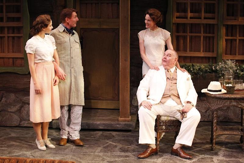 """This theater image released by Jim Randolph Media Relations shows, from left, Julia Bray, Byron Jennings, Carolyn McCormick and Michael McCarty in a scene from Jeffrey Hatcher's new comedy """"Ten Chimneys,"""" performing off-Broadway at the Theatre at St. Clement's in New York.  (AP Photo/Jim Randolph Media Relations, Carol Rosegg)"""