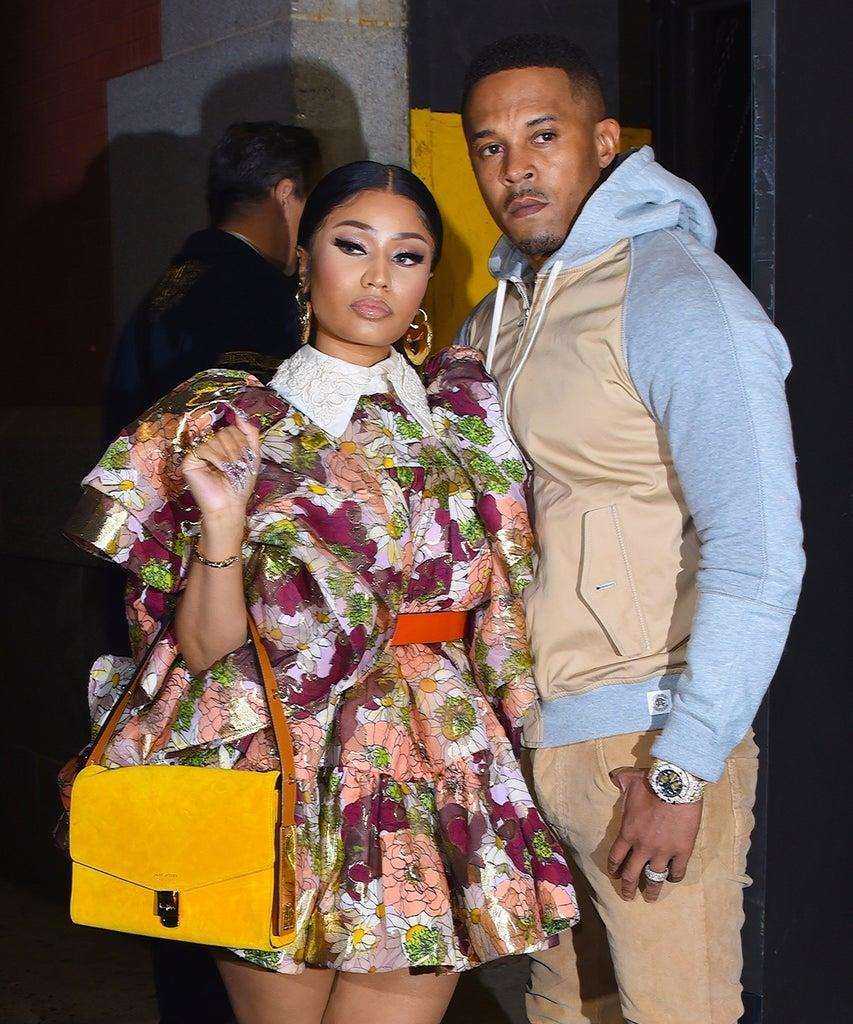 NEW YORK, NY – FEBRUARY 12: Nicki Minaj and husband Kenneth Petty seen at a Marc Jacobs NYFW event in Manhattan on February 12, 2020 in New York City. (Photo by Robert Kamau/GC Images)