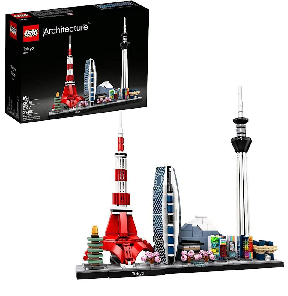 """<p><strong>LEGO Architecture</strong></p><p>amazon.com</p><p><strong>$56.75</strong></p><p><a href=""""https://www.amazon.com/dp/B07WD5XMVX?tag=syn-yahoo-20&ascsubtag=%5Bartid%7C10054.g.34039580%5Bsrc%7Cyahoo-us"""" rel=""""nofollow noopener"""" target=""""_blank"""" data-ylk=""""slk:Buy"""" class=""""link rapid-noclick-resp"""">Buy</a></p><p>Travel's off the table. However, Lego pieces can be strewn upon it. Lego's Architecture line hops from Paris to London to San Francisco, but Tokyo's got the coolest skyscrapers.</p>"""