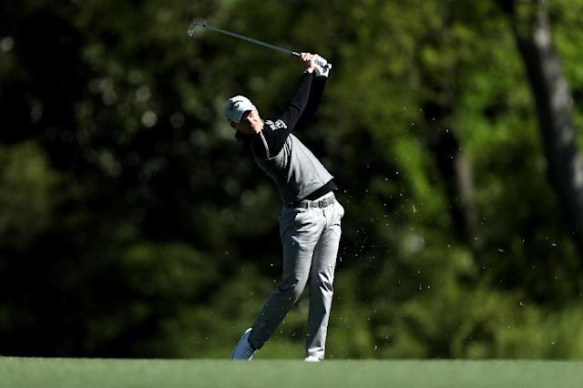 Danny Willett of England plays his second shot on the fifth hole during the second round of the 2017 Masters Tournament on April 7 in Augusta, Georgia (AFP Photo/DAVID CANNON)