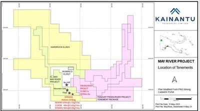 Figure 1: May River Project: Tenements and Location (CNW Group/Kainantu Resources Ltd.)