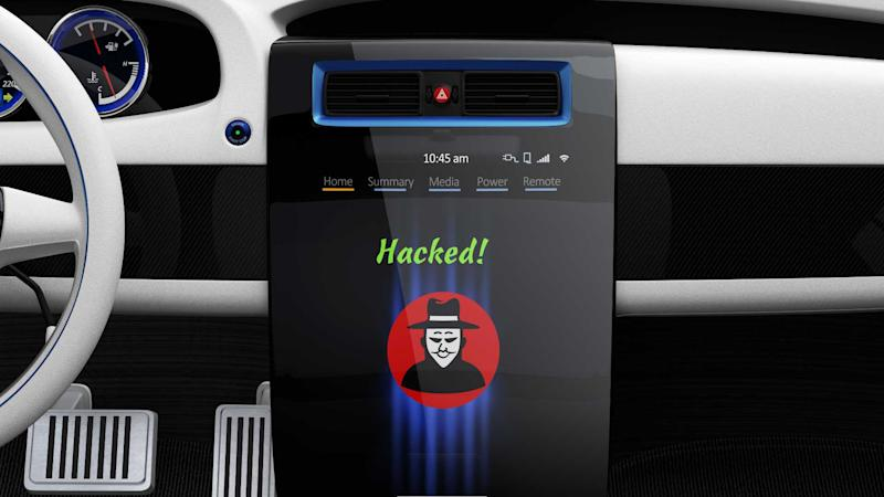 Hacker icon displayed on car centre console and smart phone