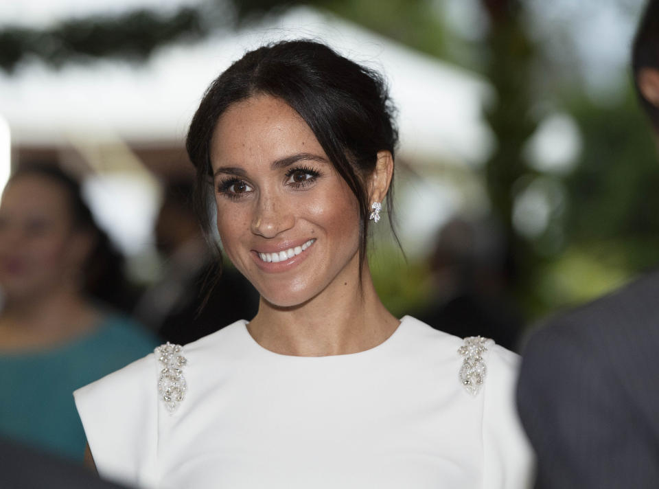 Meghan at the evening reception in Tonga (PA)