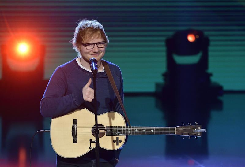 Ed Sheeran saying cheers for the streams [Flavio Lo Scalzo / AGF/REX/Shutterstock]