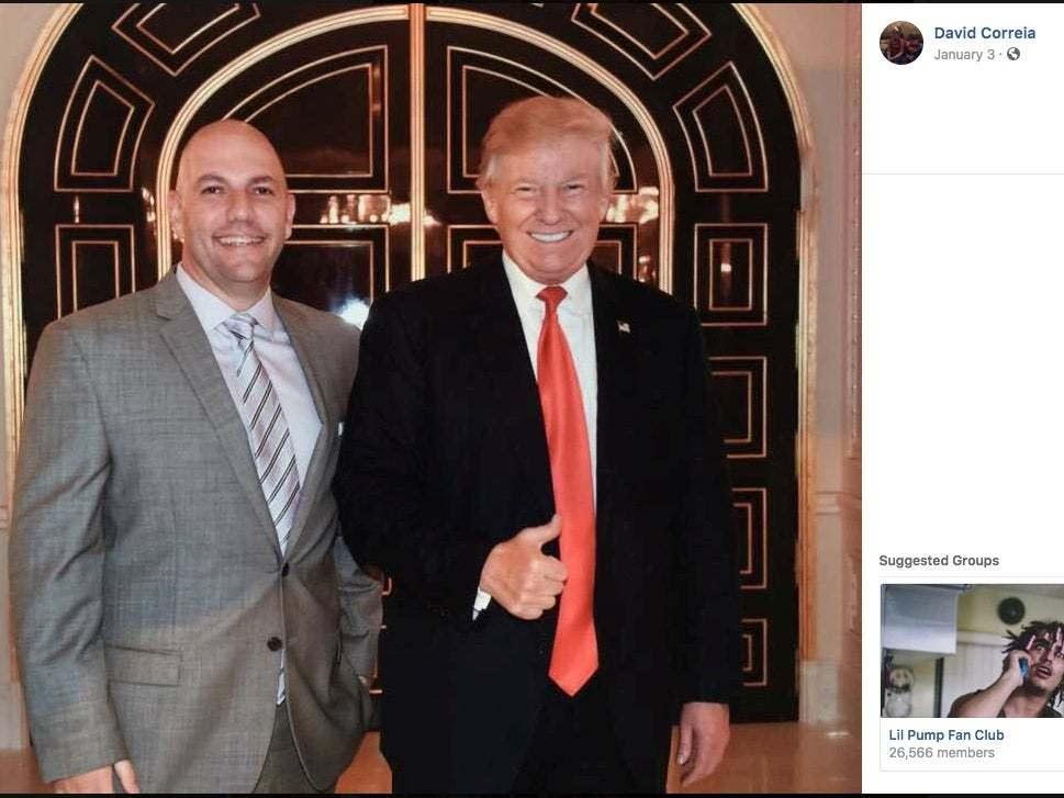 An undated screenshot of Mr Correia's Facebook appears to show the arrested businessman posing with Donald Trump: via REUTERS