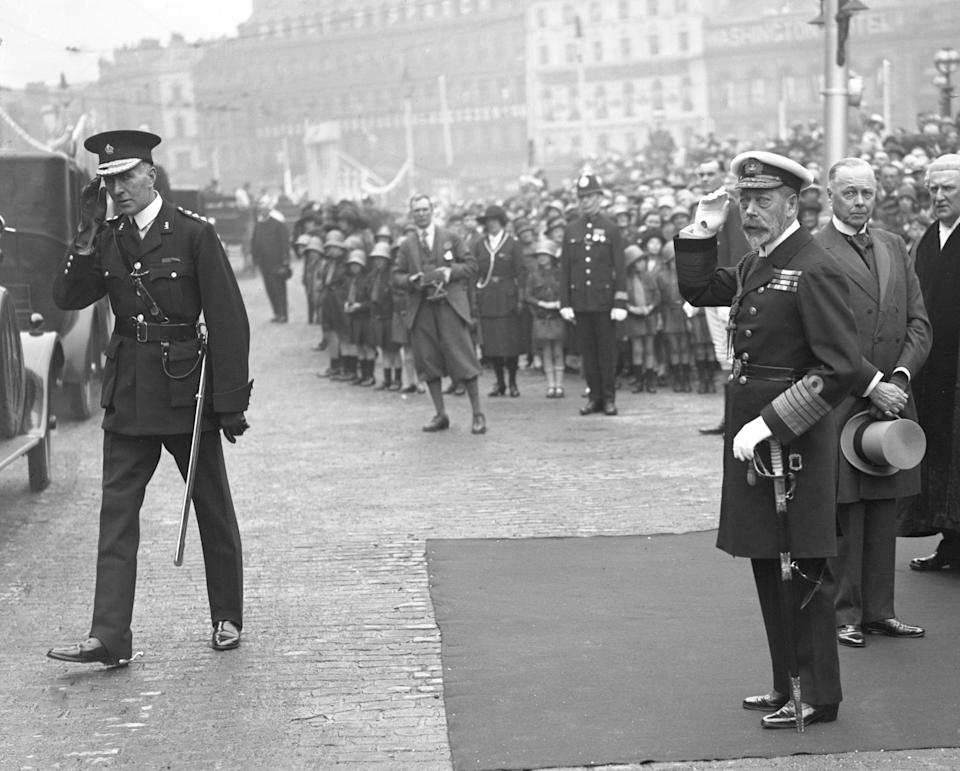 King George V opens the Gladstone Dock at Liverpool in 1913. Liverpool was a major slave trading port. Six years later, riots broke out in the city and Charles Wotten was killed by a white mob. (Photo: PA)