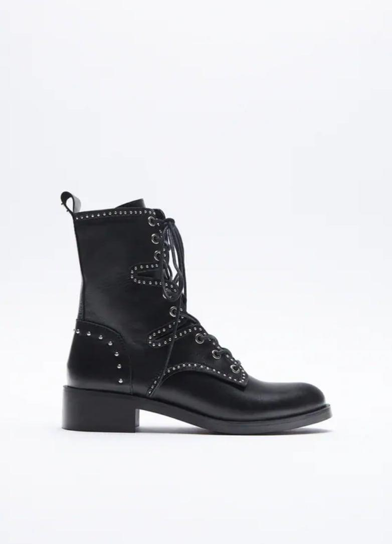<p><span>Zara Studded Low Heel Leather Ankle Boots</span> ($129)</p>
