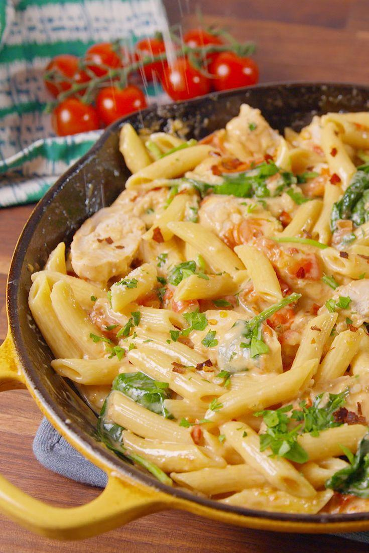"""<p>We turned Chicken Florentine into our new favorite pasta dinner.</p><p>Get the recipe from <a href=""""https://www.delish.com/cooking/recipe-ideas/recipes/a51443/chicken-florentine-pasta-recipe/"""" rel=""""nofollow noopener"""" target=""""_blank"""" data-ylk=""""slk:Delish"""" class=""""link rapid-noclick-resp"""">Delish</a>. </p>"""