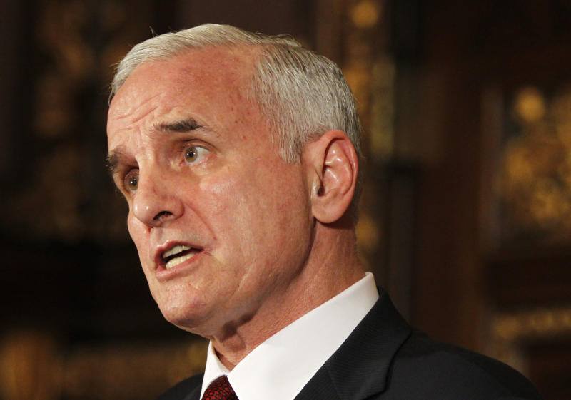 FILE - In this June 30, 2011 file photo, Gov. Mark Dayton speaks during a news conference hours before the midnight deadline to pass a budget at the Minnesota State Capitol  in St. Paul, Minn. Minnesota may soon have an end to its government shutdown, but re-starting the machinery of the state will probably take a few days. Dayton and Republican legislative leaders were aiming for a special session as early as Monday, July 18, 2011, to finalize a deal struck late last week. If rank-and-file lawmakers sign off on the deal, it will end a shutdown that's the longest in recent U.S. history. (AP Photo/Genevieve Ross, File)