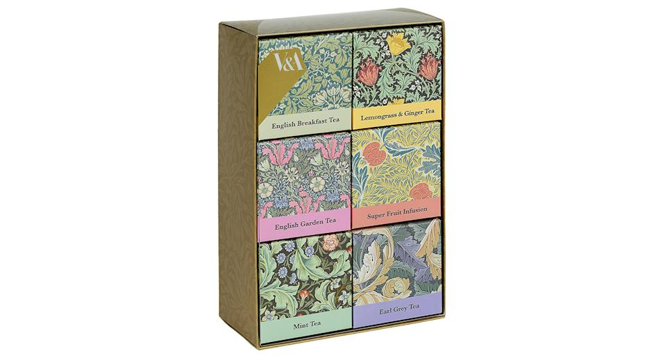 """Up your mum's tea game with this pack of six classic blends - English Breakfast, Earl Grey, English Garden, Lemongrass & Ginger, Mint and Super Fruit - all beautifully packaged in boxes featuring V&A museum designs. <a href=""""https://fave.co/2NaoNCJ"""" rel=""""nofollow noopener"""" target=""""_blank"""" data-ylk=""""slk:Shop now."""" class=""""link rapid-noclick-resp""""><strong>Shop now.</strong></a>"""