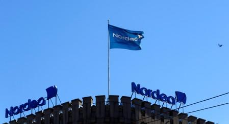 FILE PHOTO: The Nordea bank flag flutters over the bank's branch in Helsinki,