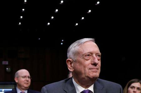 U.S. Defense Secretary Mattis testifies before a Senate Armed Services Committee hearing on Capitol Hill in Washington